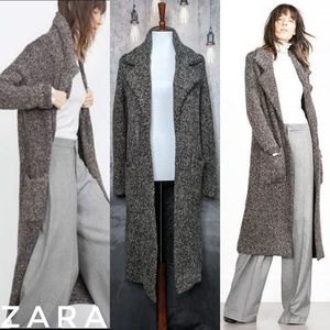 ZARA marled knit long (over)coat in charcoal gray